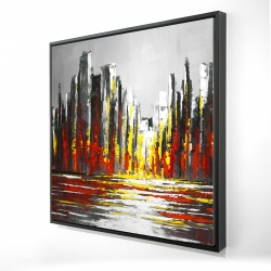 Framed 24 x 24 - 3D - Abstract red skyline