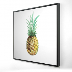 Framed 24 x 24 - 3D - Watercolor pineapple