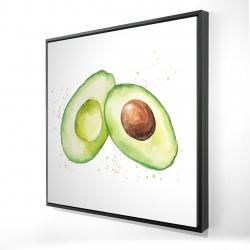 Framed 24 x 24 - 3D - Watercolor open avocado