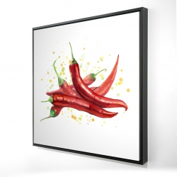 Framed 24 x 24 - 3D - Red hot peppers