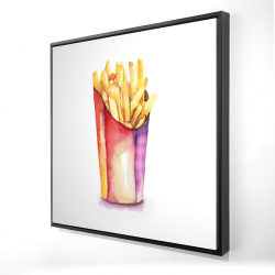 Framed 24 x 24 - 3D - Watercolor french fries