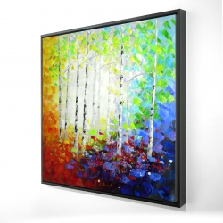 Framed 24 x 24 - 3D - Colorful forest
