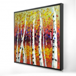 Framed 24 x 24 - 3D - Colored birches