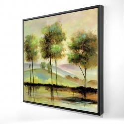 Framed 24 x 24 - 3D - Trees near the lake