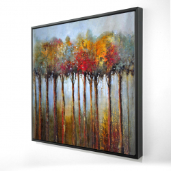 Framed 24 x 24 - 3D - Colorful leaves trees