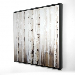 Framed 24 x 24 - 3D - Abstract white birches