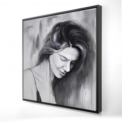 Framed 24 x 24 - 3D - Smiling woman portrait