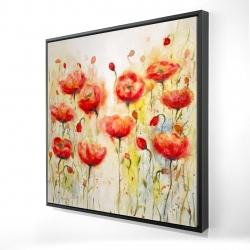 Framed 24 x 24 - 3D - Red flowers garden