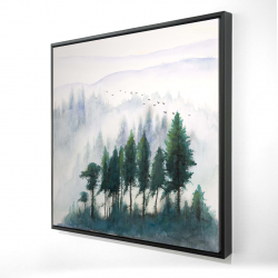 Framed 24 x 24 - 3D - Mountains landscape in watercolor
