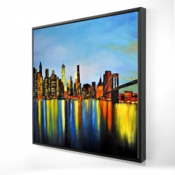 Framed 24 x 24 - 3D - City by night with a bridge
