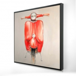Framed 24 x 24 - 3D - Small red moped