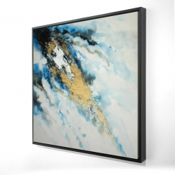 Framed 24 x 24 - 3D - Blue and gold marble
