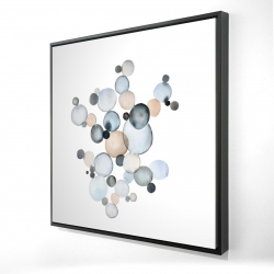 Framed 24 x 24 - 3D - Grayish bubbles