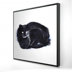 Framed 24 x 24 - 3D - Abstract watercolor cat
