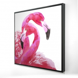 Framed 36 x 36 - 3D - Watercolor flamingo love