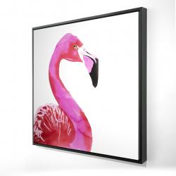 Framed 24 x 24 - 3D - Watercolor proud flamingo profile