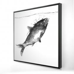 Framed 24 x 24 - 3D - Happy swimming fish