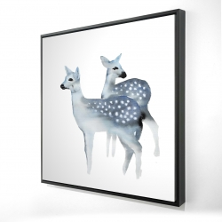 Framed 24 x 24 - 3D - Blue fawns