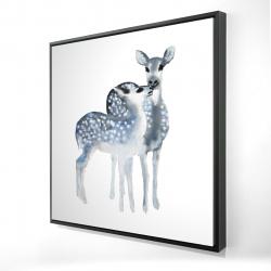 Framed 24 x 24 - 3D - Blue fawns love