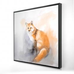Framed 24 x 24 - 3D - Watercolor fox