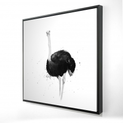 Framed 24 x 24 - 3D - Ostrich in watercolor