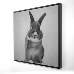 Framed 24 x 24 - 3D - Funny gray bunny