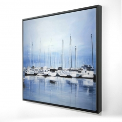 Framed 24 x 24 - 3D - Boats at the dock