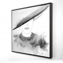 Framed 24 x 24 - 3D - Mysterious lady with a hat