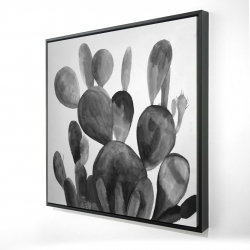 Framed 24 x 24 - 3D - Grayscale paddle cactus plant