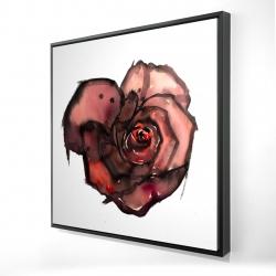 Framed 24 x 24 - 3D - Dark rose
