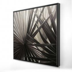 Framed 24 x 24 - 3D - Sepia tropical plants