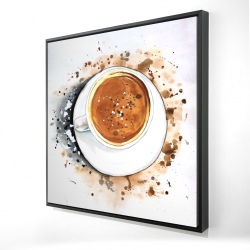 Framed 24 x 24 - 3D - Overhead view of a cappuccino cup