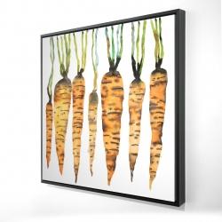 Framed 24 x 24 - 3D - Watercolor carrots
