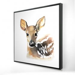 Framed 24 x 24 - 3D - Watercolor fawn face