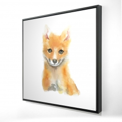 Framed 24 x 24 - 3D - Watercolor baby fox
