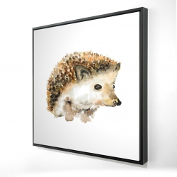 Framed 24 x 24 - 3D - Watercolor hedgehog