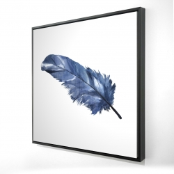 Framed 24 x 24 - 3D - Blue feather