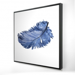 Framed 24 x 24 - 3D - Watercolor blue feather