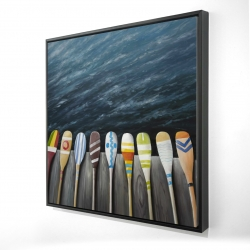 Framed 24 x 24 - 3D - Colorful paddles on the dock