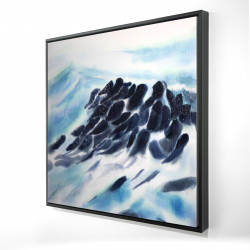 Framed 24 x 24 - 3D - Sea waves with paint splash