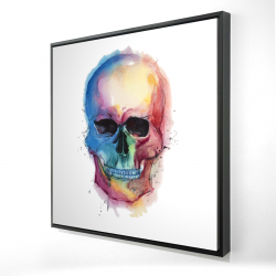 Framed 24 x 24 - 3D - Watercolor colorful skull