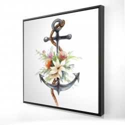 Framed 24 x 24 - 3D - Anchor with flowers