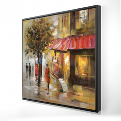 Framed 48 x 48 - 3D - Abstract street with passers
