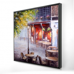 Framed 24 x 24 - 3D - Outdoor restaurant by a nice day