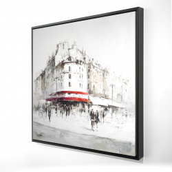 Framed 24 x 24 - 3D - White street with red accents