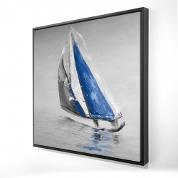 Framed 24 x 24 - 3D - Gray and blue boat sailing