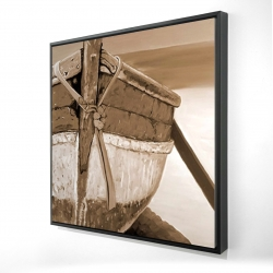 Framed 24 x 24 - 3D - Tied up rowing boat