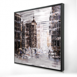 Framed 24 x 24 - 3D - Industrial abstract city
