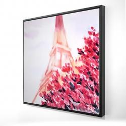 Framed 24 x 24 - 3D - Pink eiffel tower