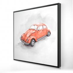 Framed 24 x 24 - 3D - Vintage red beetle